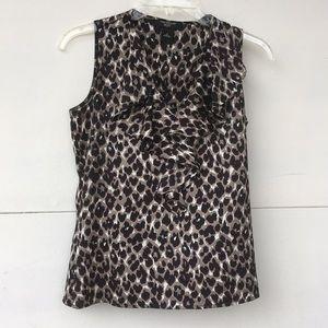 Ann Taylor petite leopard ruffle blouse